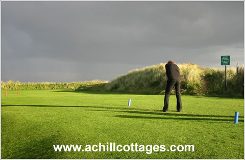 Golfer on a links course in Ireland