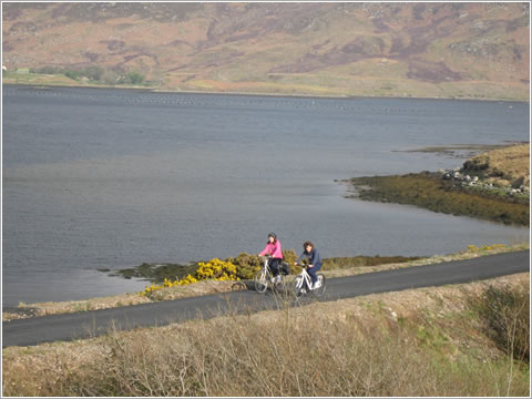 Cyclists on the Great Western Greenway near Achill